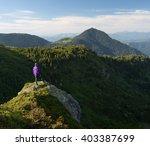 summer landscape. tourist in... | Shutterstock . vector #403387699