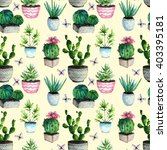 watercolor cactus and succulent.... | Shutterstock . vector #403395181