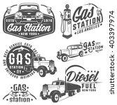 Set Of Retro Gas Station Car...