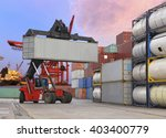 forklift handling the container ... | Shutterstock . vector #403400779