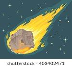 Flame Meteorite. Vector Flat...