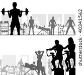 Two editable vector silhouettes of people exercising in the gym - stock vector
