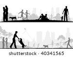 Stock vector two editable vector designs of city parks with all elements as separate editable objects 40341565