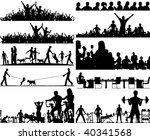 Set of editable vector people silhouettes as foregrounds - stock vector