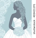 bride with bouquet in profile ... | Shutterstock .eps vector #403421191