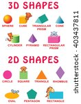 basic 3d and 2d shapes with