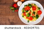 fusilli pasta with cherry... | Shutterstock . vector #403439701