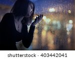 girl night lights of the city... | Shutterstock . vector #403442041