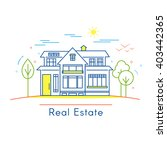 real estate logo design in line ... | Shutterstock .eps vector #403442365