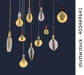 lamp light bulbs hand drawing... | Shutterstock .eps vector #403469641