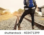 traveler wearing backpack... | Shutterstock . vector #403471399