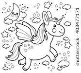 cute unicorn flying in the... | Shutterstock .eps vector #403477171