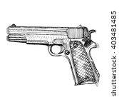 hand drawn retro pistol. ink...