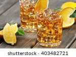 two glasses of iced tea with... | Shutterstock . vector #403482721
