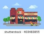 cartoon pizzeria. vector flat... | Shutterstock .eps vector #403483855