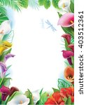 frame with tropical flowers | Shutterstock .eps vector #403512361