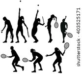 Tennis Players Silhouettes Set