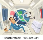 astronaut in zero gravity.... | Shutterstock .eps vector #403525234