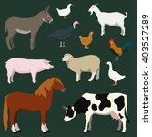 Cartoon Farm Animals And...