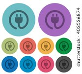 color power cord flat icon set...