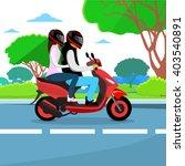 couple ride motorcycle wearing...   Shutterstock .eps vector #403540891