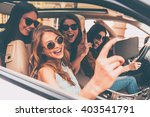 selfie time  side view of four... | Shutterstock . vector #403541791