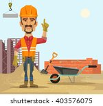 builder. vector flat cartoon... | Shutterstock .eps vector #403576075
