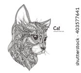 Hand Drawn Cat With Ethnic...
