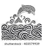 vector zentangle dolphins in