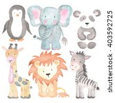 Stock photo sea animals watercolor illustrations set isolated on the white 403592725
