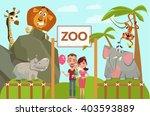 Happy Family In Zoo. Vector...