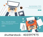 workplace with typewriter. flat ... | Shutterstock .eps vector #403597975