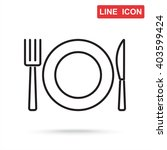 line icon  plate  knife and fork | Shutterstock .eps vector #403599424