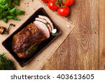 roast pork with herbs and... | Shutterstock . vector #403613605