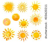 Set Of Watercolor Sun Icons...