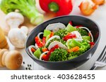 steamed broccoli with... | Shutterstock . vector #403628455