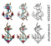 set of sea anchors. color... | Shutterstock .eps vector #403633387