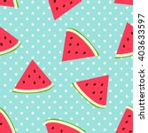 Stock vector watermelon seamless pattern with polka dots 403633597