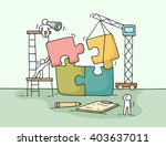 sketch of working little people ... | Shutterstock .eps vector #403637011