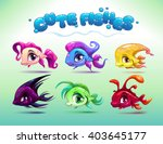 funny cartoon little fishes set ...