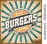 retro style burger sign ... | Shutterstock .eps vector #403651825