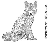 fox. black white hand drawn... | Shutterstock .eps vector #403653055