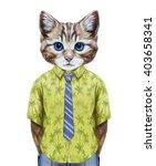 portrait of cat in summer shirt ... | Shutterstock . vector #403658341