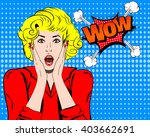 wow face. surprised woman... | Shutterstock .eps vector #403662691