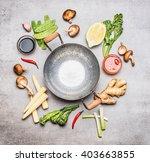 blank wok pan and ingredients... | Shutterstock . vector #403663855