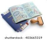 opened passport with visa...