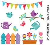 vector set of birds  flowers... | Shutterstock .eps vector #403669561