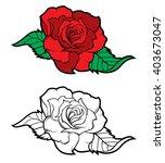 tattoo rose design element   Shutterstock .eps vector #403673047