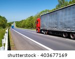 red truck and an oncoming blue...   Shutterstock . vector #403677169