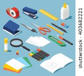 Isometric Office Stationery Se...